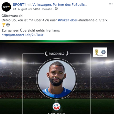 Best Cases Sport1: DFB Pokal Walk of Fame - Beispiel Facebook Post